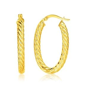 Jewelry - 14k Yellow Gold Women's Twisted Cable Oval Hoop